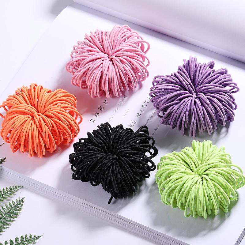 Elastic Nylon Hairbands 100 pcs Set