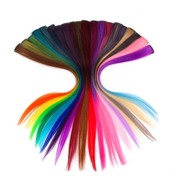Extension de cheveux synthétiques clipsables pré-colorés brillants