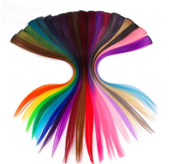 Extensions de cheveux synthétiques avec un seul clip de couleur vive