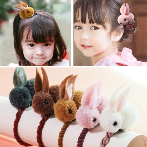 Serre-tete en coton en forme de lapin