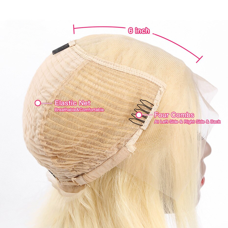 Blonde Short Straight Lace Remy Human Hair Wig