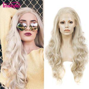 Imstyle Ash Blonde dentelle avant perruque cheveux synthétiques longues perruques ondulées pour les femmes sans colle haute température Fiber naturelle cheveux perruques