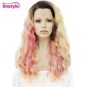 Perruque avant en dentelle Imstyle longue bouclée multicolore Ombre arc-en-ciel perruques pour femmes perruques synthétiques fibre résistante à la chaleur Cosplay 24 pouces
