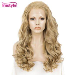 Imstyle Blonde perruque dentelle avant perruques pour femmes longue ondulée synthétique dentelle perruque cheveux naturels résistant à la chaleur Fibe 24 pouces